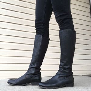 Frye Molly Gore Black Riding Boots, Size 9